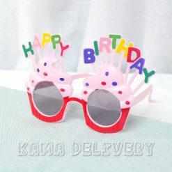 生日眼鏡(鮮紅配色)|到會派對用品|Kama Delivery