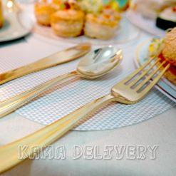 精緻金色餐具|到會派對用品|Kama Delivery